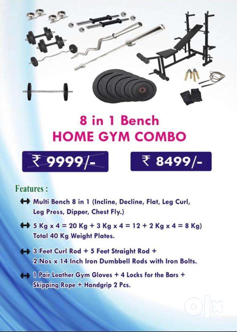 8 in 1 Bench,30 kg Rubber weight, 4 high quality rods Home Gym Combo 0