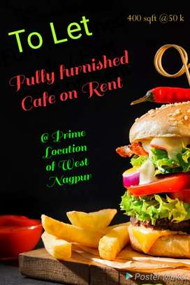 Fully furnished cafe / Fast food on Rent at Prime location
