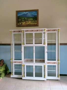 Bufet meja tv aluminium & kaca