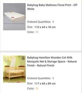 Babyhug Cot with Mattress and Crib set