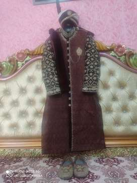 Branded double cote sherwani complete set for sale