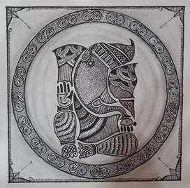 Framed Ganpati sketch