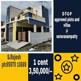 Dtcp approved site at saravanampatty near athipalayam
