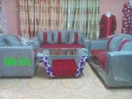 Rafie Sofa, 1 Set Sofa Minimalis Merah/Abu2 + Meja + Bantal