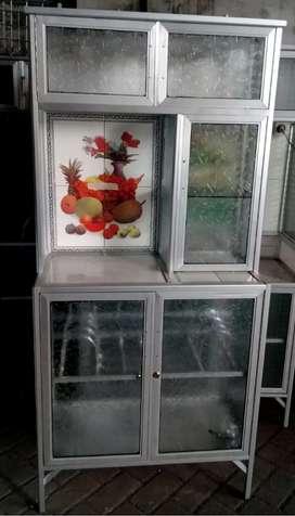 Rak Piring Almini Putih + Keramik Kaca Es 78-160 5 Pintu
