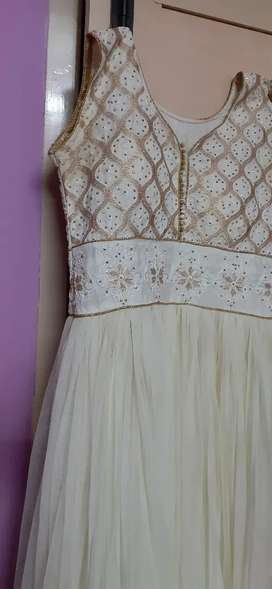 White Anarkali Gown