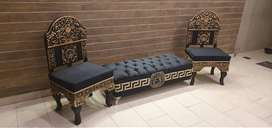 Black Color Valvit Saty And Room Chairsn 2 Kanal Total Samaan For Sale