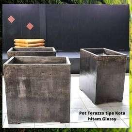 Pot Terazzo tipe Kotak hitam Glossy untuk dekorasi outdoor or indoor