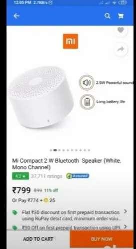 [NEW] Mi Compact 2 W Bluetooth Speaker  (White, Mono Channel) Rs.600
