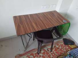 Folding Table and Plastic Chair