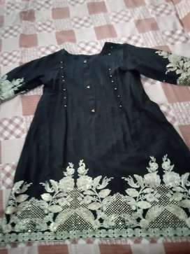 Black shirt frock with skin dupatta and trouser