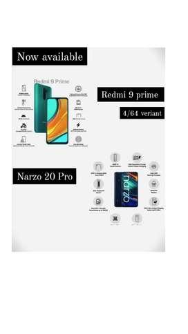 Redmi 9 prime 4/64/  narzo20 pro