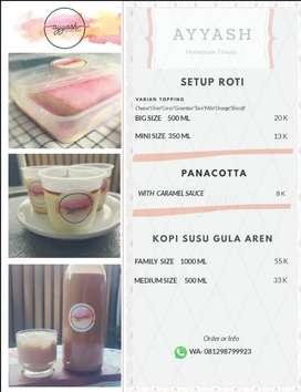 Setup Roti, Kopi Susu gula aren& panacotta