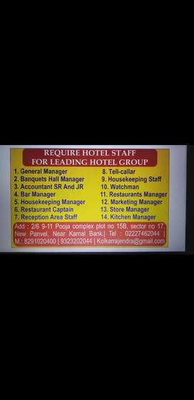 R k Group of Hotel require staff