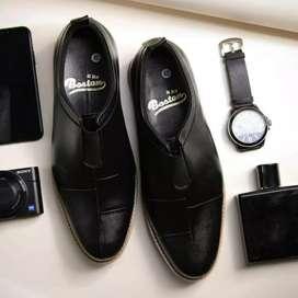 Septu pantofel slip on pria kulit asli sepatu formal model Capella