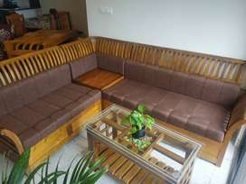 L type solid wooden sofa
