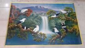 lukisan kanvas burung