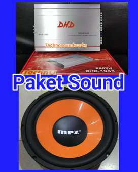 Paket sound audio Power 4 ch + Sub bass subwoofer 12 in for tv
