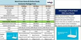 Hathway broadband at Rs 900 per month.Cash back offers available.