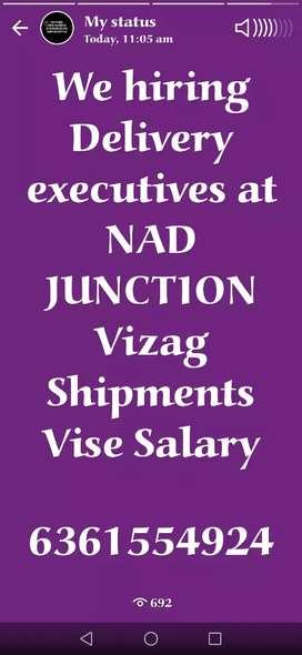 Hiring Delivery executive at NAD Junction Visakhapatnam