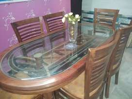 6 chair, wood glass dining table with excellent condition