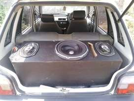 Car sound system with boofer and amplifier