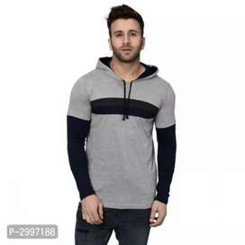 Brand New Self pattern cotton blend hooded tees