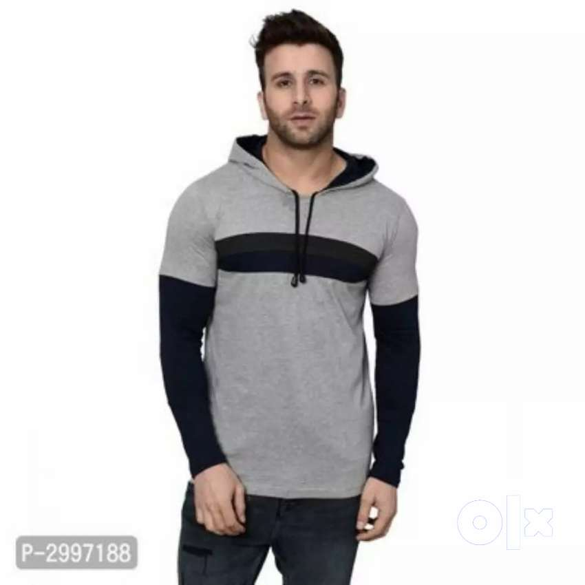 Brand New Self pattern cotton blend hooded tees 0