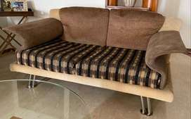 Sofa Set along with Glass Table for Sale.