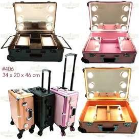 Beauty case  tempat makeup  kotak kosmetik kaca lampu - Pink Gosend