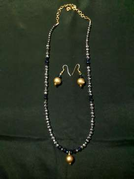 Silver Crystal Modern Chain with Earings