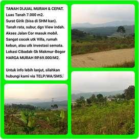Tanah Murah dgn View Indah 7.031 m2, 40 menit dr Tol Cibinong-BOGOR.