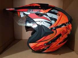 Helm Semi Cross Motif Doff Double Visor Kacamata Dalam