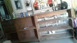 One side Glass one side furniture Counter with draws