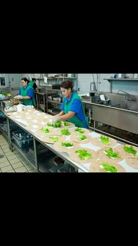 Assistance in preparing dishes at restaurant