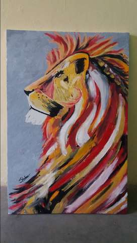The Lion. Oil Canvas painting