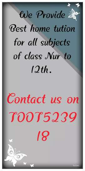 Home tuition for all class and all subjects (1st - 12th)