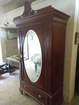 Antique Teak wood wardrobe with mirror