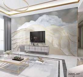 Wallpaper Dinding 3D Custom Gorden Hordeng Rumah Kantor Apartement