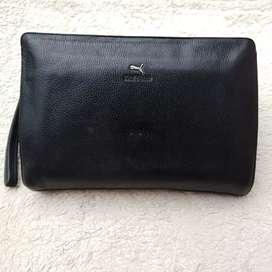 Tas import eks Haitbao clutch/tas tangan kulit asli tebal besar kokoh