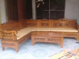 Kursi tamu sudut,bahan kayu jati berkwalitas,bisa reques