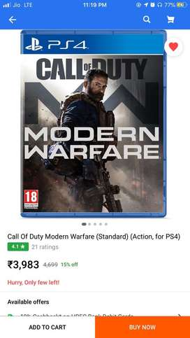 Call of duty modern warfare ps4 cd