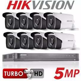 Paket lengkap 8 camera cctv Hikvision 5 Mp gratis pasang terima beres.