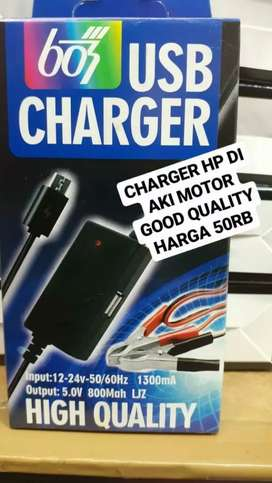 Charger hp pakai aki motor 2usb