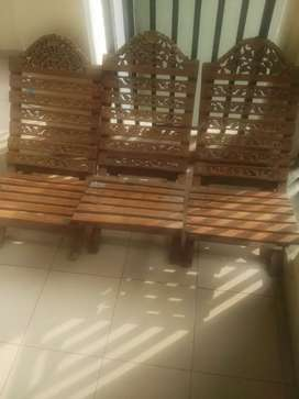 Three carved wooden chair for lawn and balcony