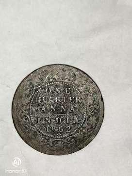 One Quarter Anna India 1862