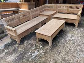 Kursi sudut minimalis kayu jati ready stok mentag