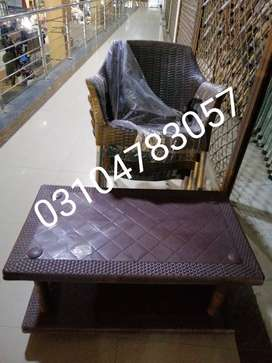 Rattan plastic chairs set with tables