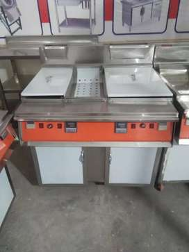Fryer double tank 3 baskets cap with sizzling