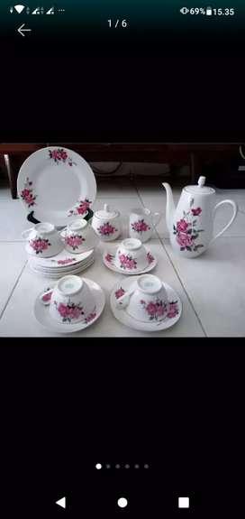 Tea set bunga jadul, antik